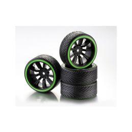 Driftové pneumatiky 1:10 včetně disků, 4ks, zelené - 1