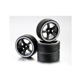 Driftové pneumatiky 1:10 včetně disků, 4ks, bílé - 1