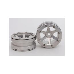 Kovové Beadlock CNC disky 1.9 PT Slingshot Silver/Silver, 2ks - 1