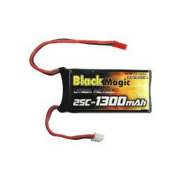 Black Magic LiPol 7.4V 1300mAh 25C JST - 1