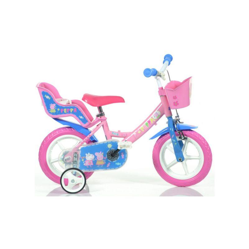 """DINO Bikes - Dětské kolo 12"""" Pepa Pig se sedačkou a košíkem - 1"""