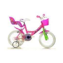 """DINO Bikes - Dětské kolo 14"""" Trolls se sedačkou pro panenku a košíkem - 1"""