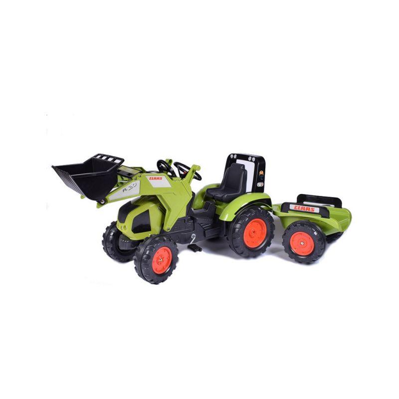 FALK - Šlapací traktor Claas Axos 330 s nakladačem a vlečkou - 1