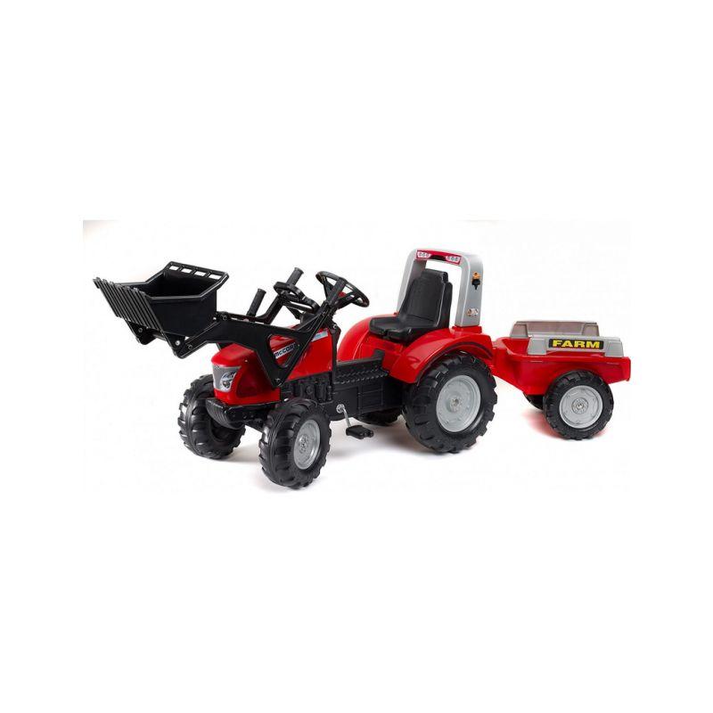 FALK - Šlapací traktor McCormick s nakladačem a vlečkou - 1