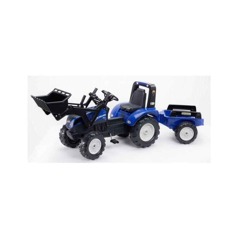 FALK - Šlapací traktor New Holland T8 s nakladačem a vlečkou - 1