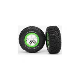 """Traxxas kolo 2.2/3.0"""", disk SCT stříbrný-zelený, pneu KM2 (2) přední - 1"""