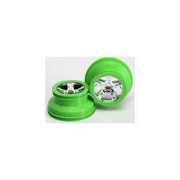 """Traxxas disk 2.2/3.0"""" SCT stříbrný-zelený (2) (2WD přední) - 1"""