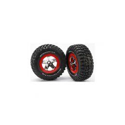 """Traxxas kolo 2.2/3.0"""", disk SCT stříbrný-červený, pneu KM2 (2) (2WD přední) - 1"""