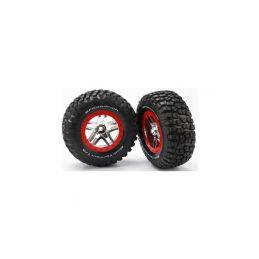 """Traxxas kolo 2.2/3.0"""", disk SCT Split-Spoke stříbrný-červený, pneu KM2 (2) (2WD přední) - 1"""