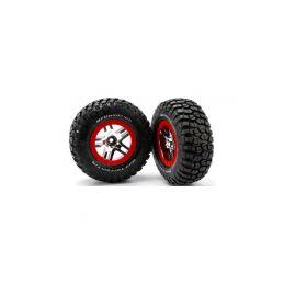 """Traxxas kolo 2.2/3.0"""", disk SCT Split-Spoke stříbrný-červený, pneu KM2 S1 (2) (2WD přední) - 1"""