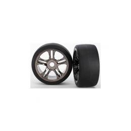 Traxxas kolo, disk Split-Spoke černý chrom, pneu slick S1 (2) (zadní) - 1