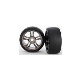 Traxxas kolo, disk Split-Spoke černý chrom, pneu slick S1 (2) (přední) - 1