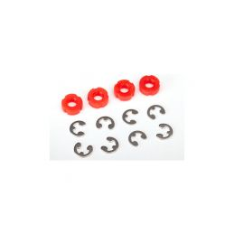 Traxxas Piston, damper (red) (4)/ e-clips (8) - 1
