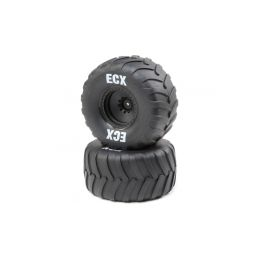 ECX kolo s pneu, černý disk (2): Amp Crush - 1