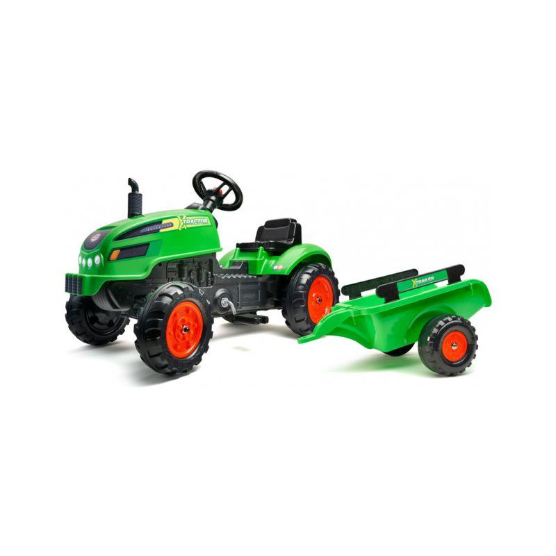 FALK - Šlapací traktor X-Tractor s vlečkou zelený - 1