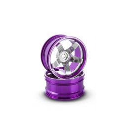 Hliníkový disk 5 paprsků, offset 6 mm - fialová barva (2 ks) - 1