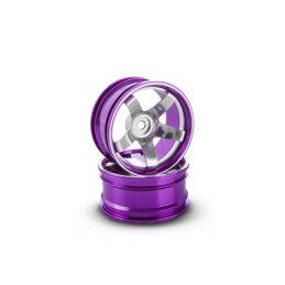 Hliníkový disk 5 paprsků, offset 9 mm - fialová barva (2 ks) - 1