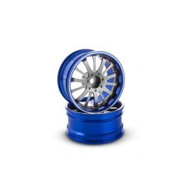 Hliníkový disk 14 paprsků, offset 6 mm - modrá barva (2 ks) - 1
