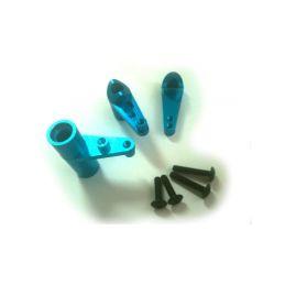Alu páky servo saver, modrý, 1sada - 1