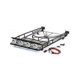 Kovová střešní zahrádka s LED světelnou rampou - 250x150x45mm vč. držáku náhradního kola - 1