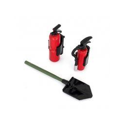 Hasící sada: 2x hasící přístroj včetně držáků a 1x lopata - 1