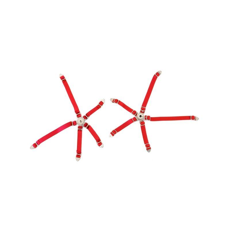 Pětibodové pásy s kov. přesk. , červené popruhy - 1