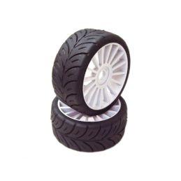 1/8 GT Sport gumy HARD nalepené gumy, bílé disky, 2ks. - 1