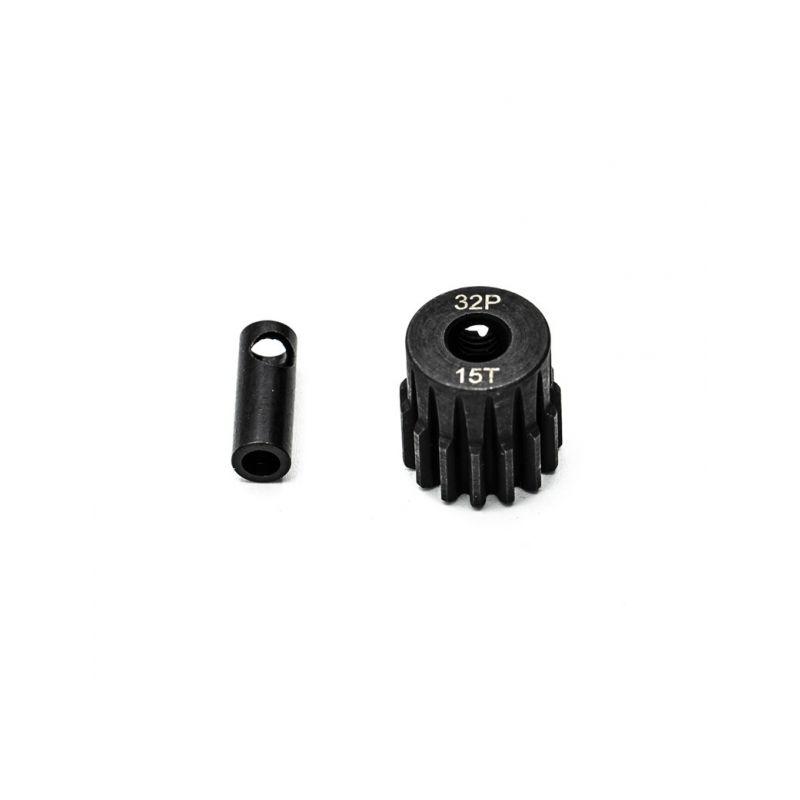 Ocelový motorový pastorek 15 zubů, modul 32DP s 5mm vrtáním a 3,17mm adaptérem - 1