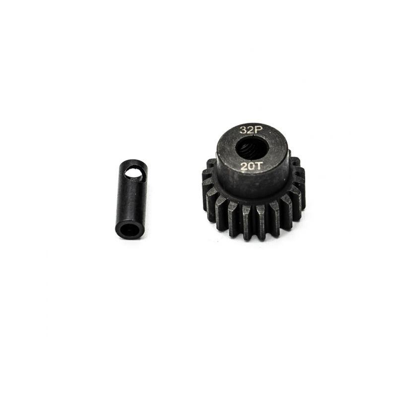 Ocelový motorový pastorek 20 zubů, modul 32DP s 5mm vrtáním a 3,17mm adaptérem - 1