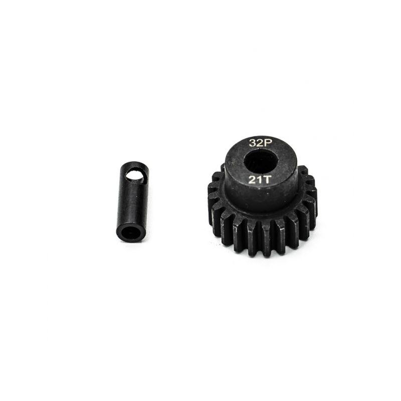Ocelový motorový pastorek 21 zubů, modul 32DP s 5mm vrtáním a 3,17mm adaptérem - 1