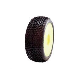 1/8 DEMOLITION COMPETITION OFF ROAD gumy nalepené gumy, HYPER SOFT směs, žluté disky, 2ks. - 1
