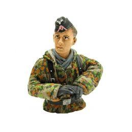 1/16 figurka německého velitele tanku, letní kamufláž z 2 sv. války, ručně malovaný - 1