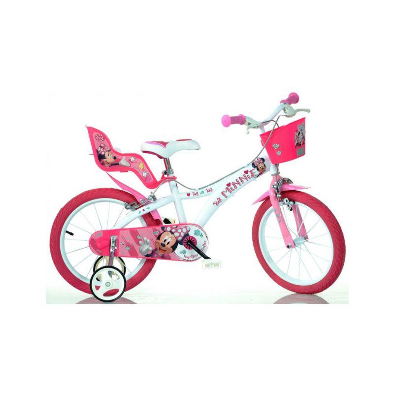"DINO Bikes - Dětské kolo 16"" Minnie se sedačkou pro panenku a košíkem - 1"