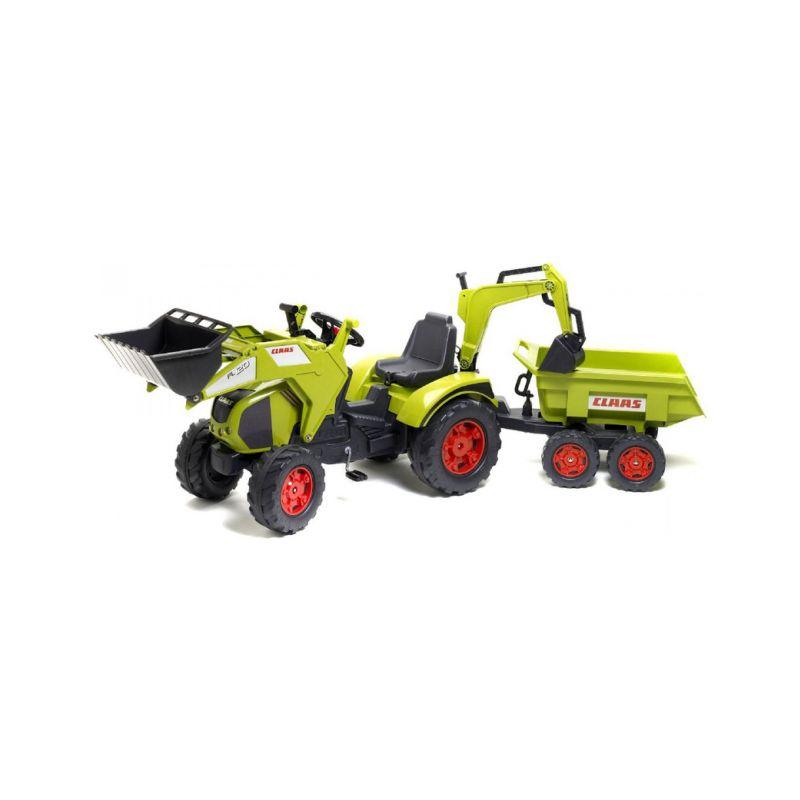 FALK - Šlapací traktor Claas Axos s nakladačem, rypadlem a vlečkou - 1