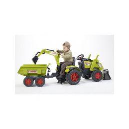 FALK - Šlapací traktor Claas Axos s nakladačem, rypadlem a vlečkou - 2