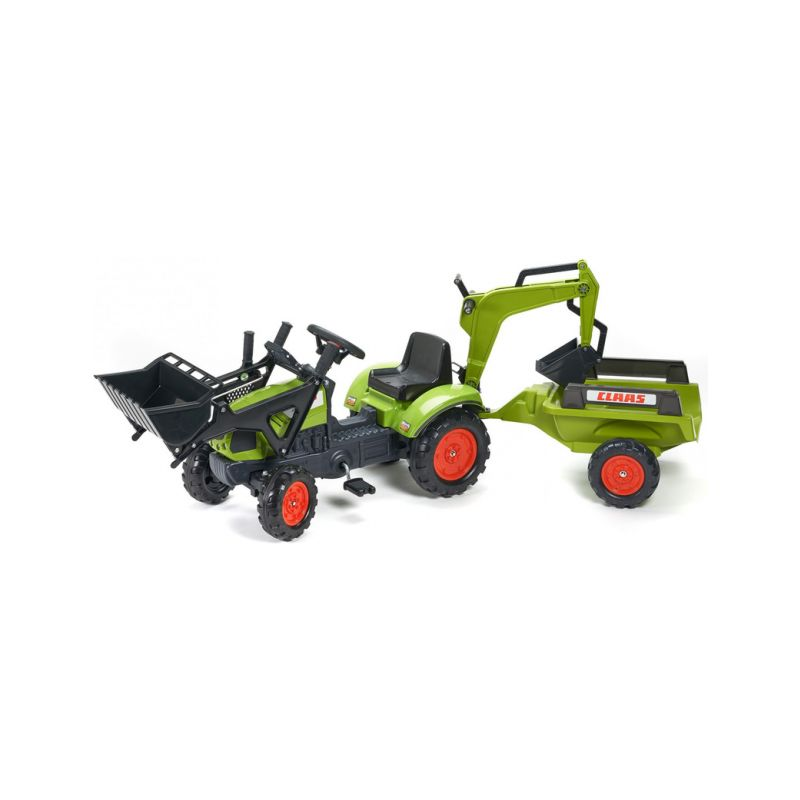 FALK - Šlapací traktor Claas Arion 410 s nakladačem, rypadlem a vlečkou - 1