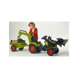 FALK - Šlapací traktor Claas Arion 410 s nakladačem, rypadlem a vlečkou - 2