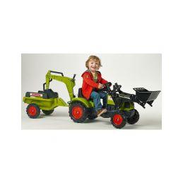 FALK - Šlapací traktor Claas Arion 410 s nakladačem, rypadlem a vlečkou - 3