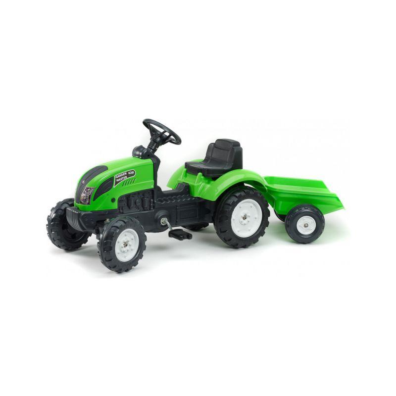 FALK - Šlapací traktor Garden master zelený s vlečkou - 1