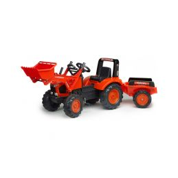FALK - Šlapací traktor Kubota M135GX s nakladačem a vlečkou - 1