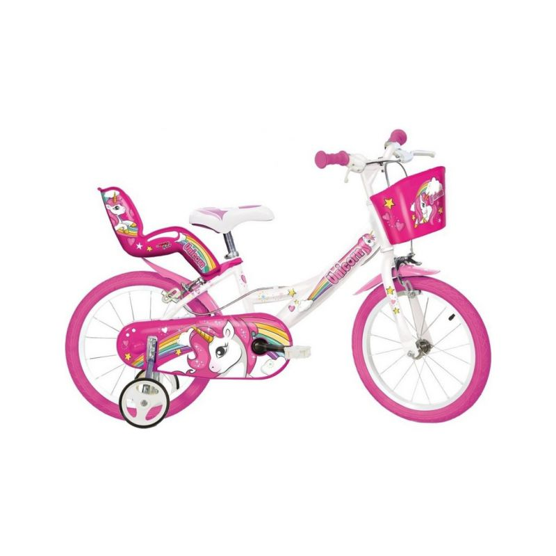 """DINO Bikes - Dětské kolo 14"""" Jednorožec se sedačkou - 1"""