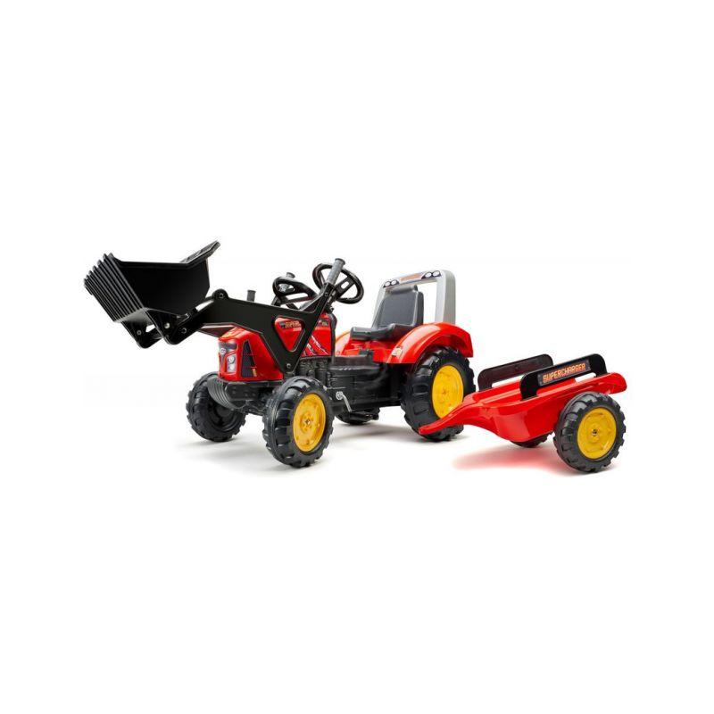 FALK - Šlapací traktor Supercharger s nakladačem a vlečkou červený - 1