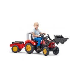 FALK - Šlapací traktor Supercharger s nakladačem a vlečkou červený - 2