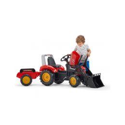 FALK - Šlapací traktor Supercharger s nakladačem a vlečkou červený - 3
