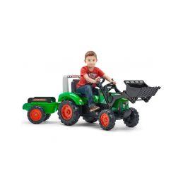 FALK - Šlapací traktor Supercharger s nakladačem a vlečkou zelený - 2