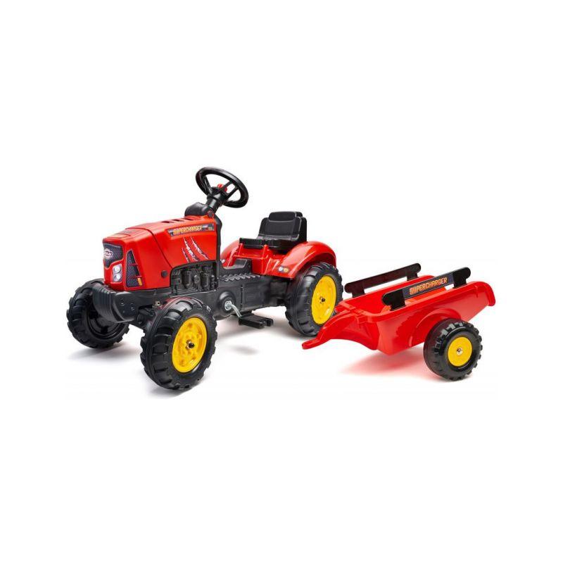 FALK - Šlapací traktor SuperCharger s vlečkou červený - 1