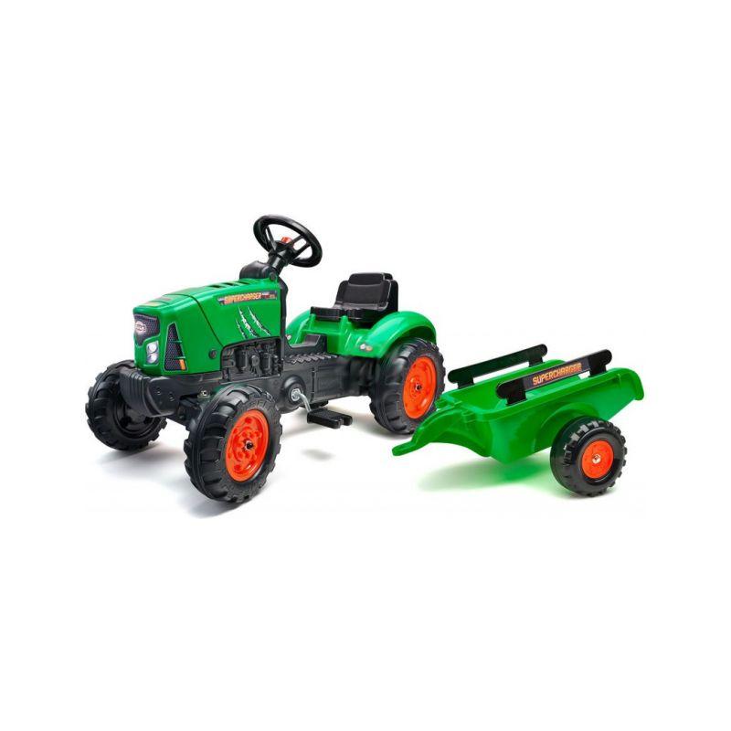 FALK - Šlapací traktor SuperCharger s vlečkou zelený - 1