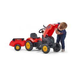 FALK - Šlapací traktor X-Tractor s vlečkou červený - 4