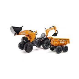 FALK - Šlapací traktor Case IH Beckhoe s nakladačem, rypadlem a vlečkou - 1