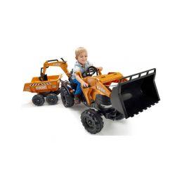 FALK - Šlapací traktor Case IH Beckhoe s nakladačem, rypadlem a vlečkou - 2